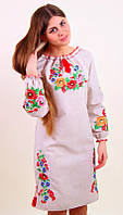 Женское вышитое платье длиный  рукав в украинском стиле