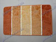 Набор ковриков для ванной, 60х100 + 60х50см. Цветы из сердечек, оранжевый