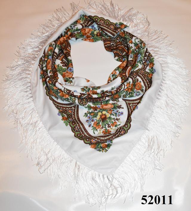 Теплый стильный павлопосадский платок (52011) 1