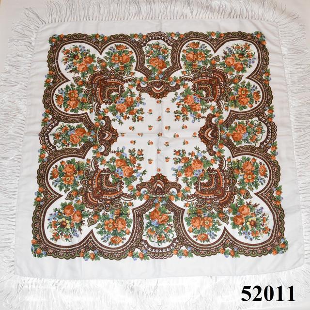 Теплый стильный павлопосадский платок (52011) 2
