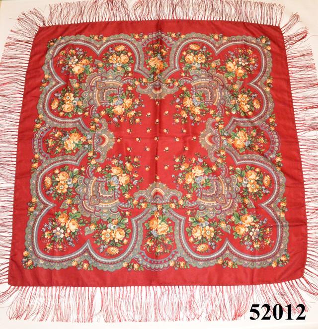 Теплый стильный павлопосадский платок (52012) 2