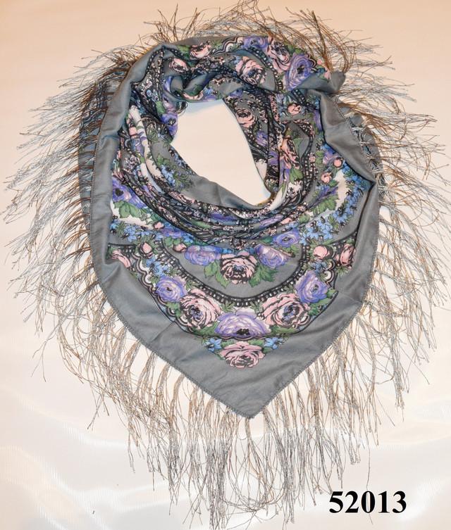 Теплый стильный павлопосадский платок (52013) 1