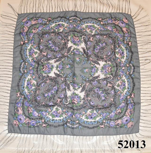 Теплый стильный павлопосадский платок (52013) 2