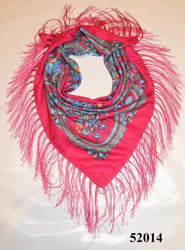 Теплый стильный павлопосадский платок (52014) 1