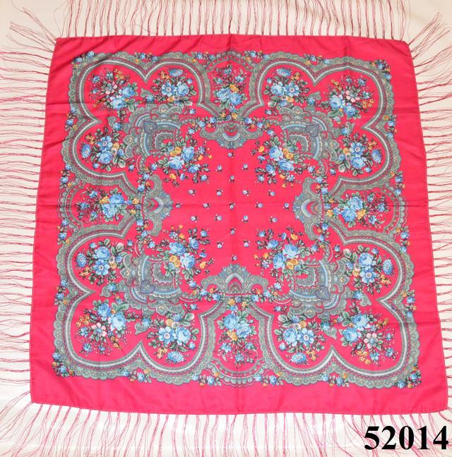 Теплый стильный павлопосадский платок (52014) 2