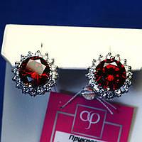 Серебряные серьги с большими камнями (красные) 2015к