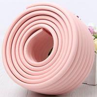 Защитная лента на углы мебели - ребристая. Розовый