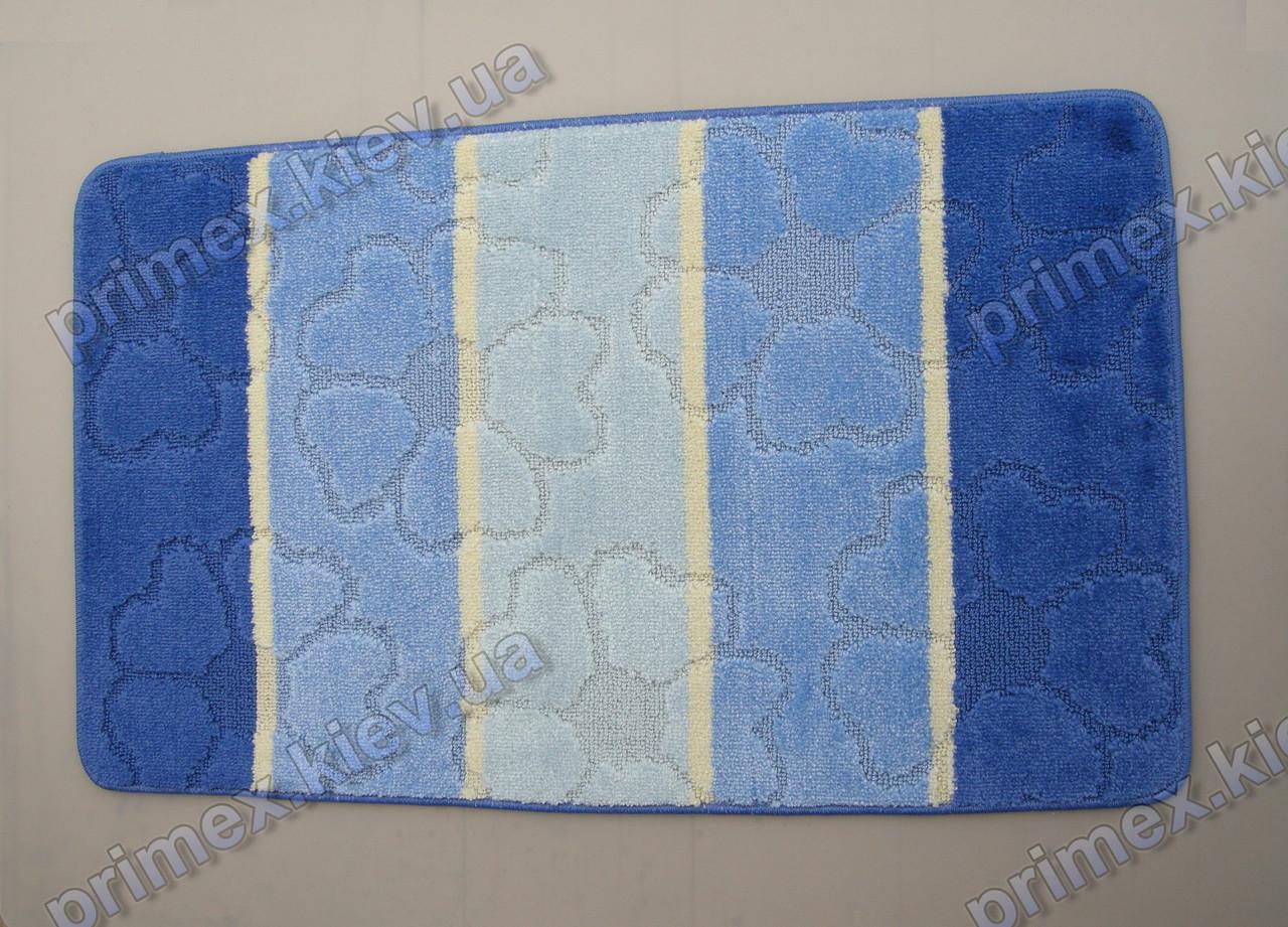 Набор ковриков для ванной, 60х100 + 60х50см. Цветы из сердечек, голубой