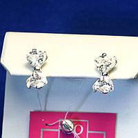 Серебряные сережки-гвоздики Бантик 21015