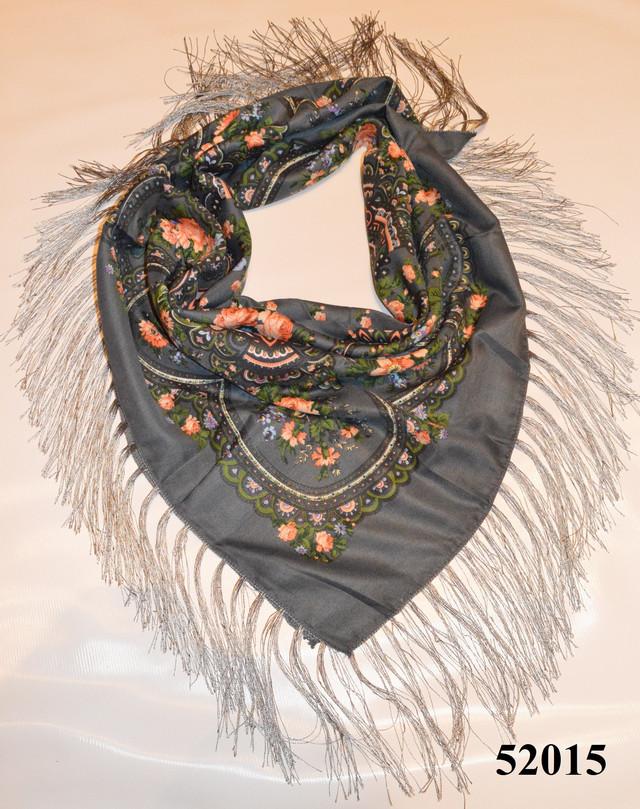 Теплый стильный павлопосадский платок (52015) 1