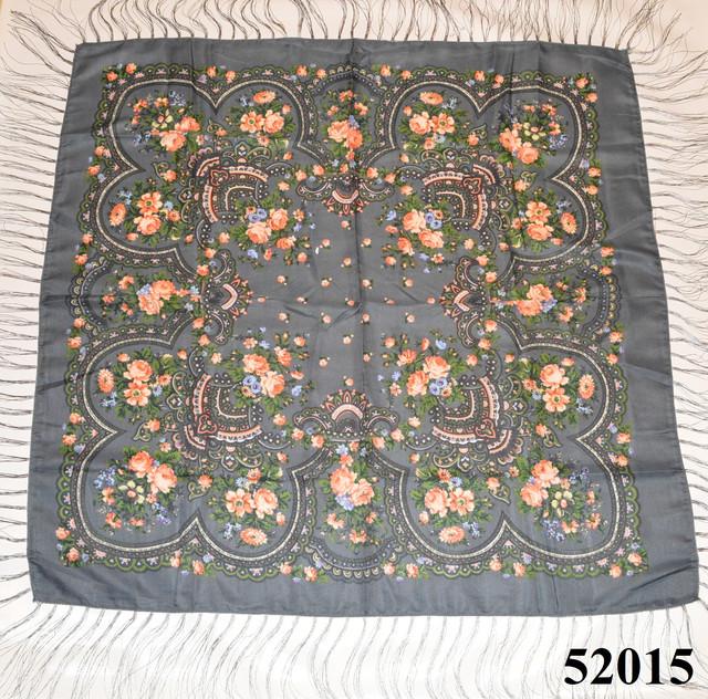 Теплый стильный павлопосадский платок (52015) 2