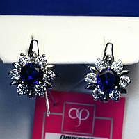 Серебряные серьги Цветы с синим фианитом 2068с