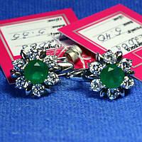 Серьги серебро с зелеными камнями 2068з, фото 1
