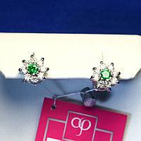 Серебряные сережки-гвоздики с фианитом Цветок 2115з, фото 1