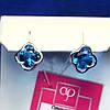 Серебряные пусеты с голубым цирконом 2122г