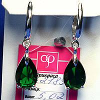 Серебряные сережки с камнями Капли 2189