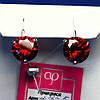 Серебряные серьги с крупным красным фианитом 2455к