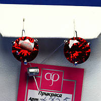 Серебряные серьги с крупным красным фианитом 2455к, фото 1