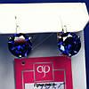 Серебряные серьги с большим синим цирконом 2455с