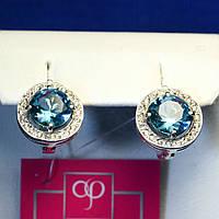 Серебряные серьги с голубым камнем 21090г
