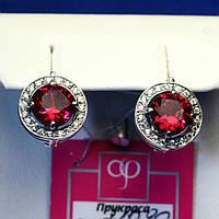 Серебряные серьги с цирконием (красные камни) 21090к