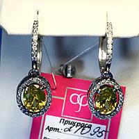 Серебряные серьги с желтым камнем 21095ж, фото 1