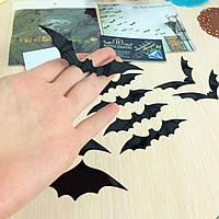 """Наклейки 3D """" Летучая мышь"""" чёрная 12 шт в наборе."""