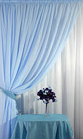 Тюль голубая Вуаль, однотонная + высококачественный пошив, фото 1
