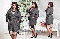 """Женское модное пальто """"Жасмин"""" т. шерсть букле / батал / серое"""