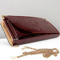 Бордовый женский клатч-кошелек Chanel лаковый