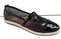 Эспадрильи женские летние Chanel сетка черные KF0329