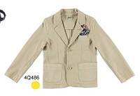 Нарядное (лето) пиджак однобортный, нагрудный карман с платочком, два кармана мал. беж 97 % хлопок,  3 % эласт