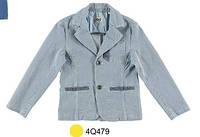 Нарядное (лето) пиджак тонкая полоска, голубая отделка и латки на локтях мал. белый 65% хлопок, 23% п/э, 11%ви