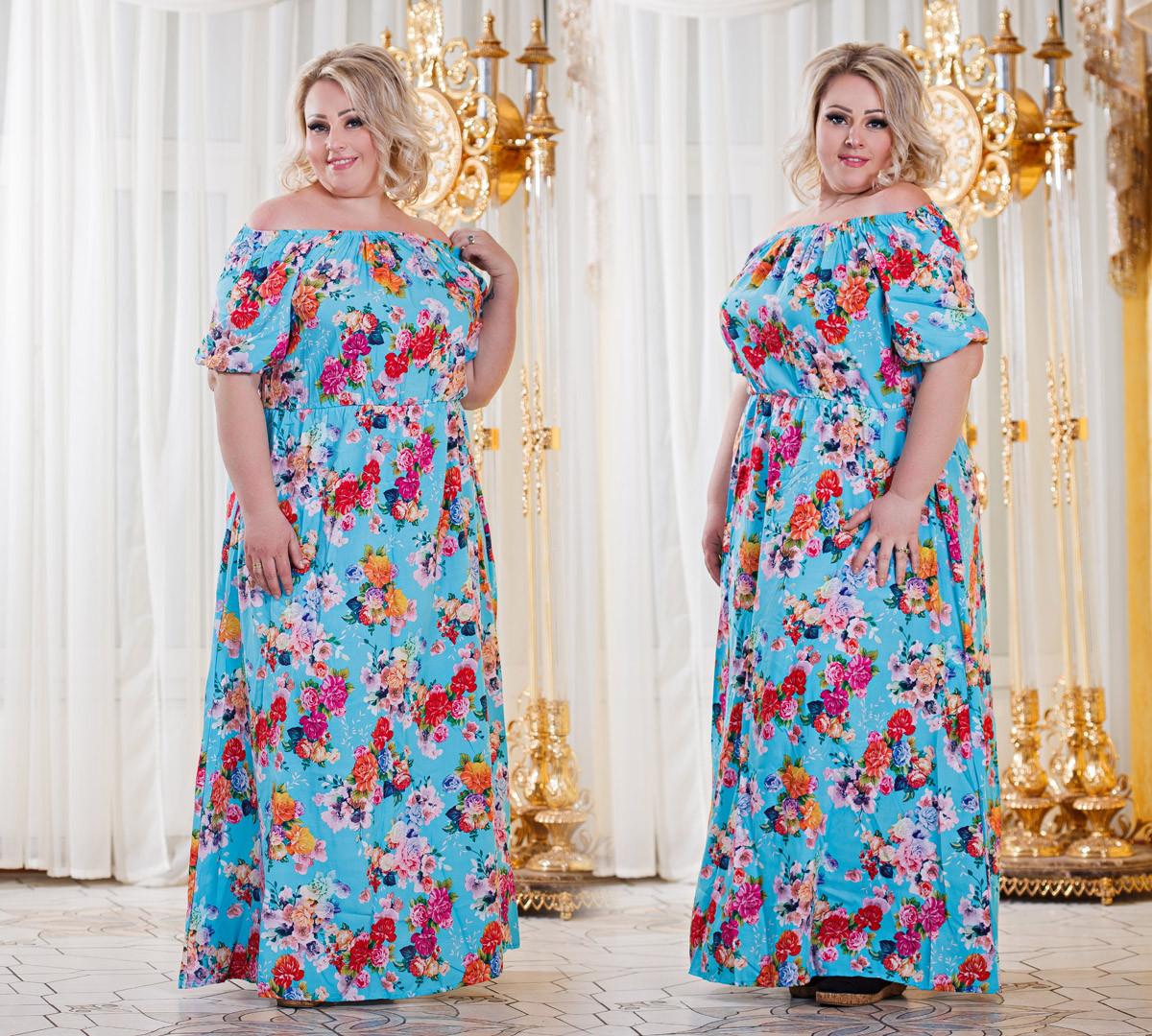 Д298 10  Платье штапельное размеры 48-56 расцветках