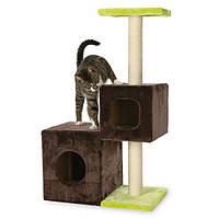 """Домик с когтеточкой """"Нальдо"""" для кошек и котят, 88см, коричневый/салатовый."""
