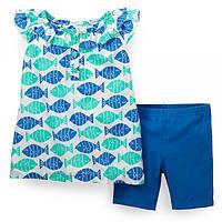Комплект летний с шортиками Carters Рыбки, Размер 24м, Размер 24м