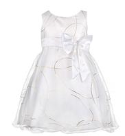 Бальное платье для девочки белое с красивым узором