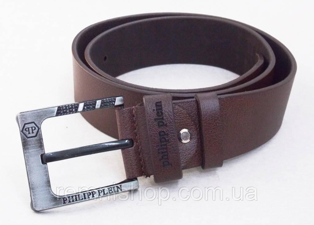 Мужской кожаный ремень Philipp Plein темно-коричневый