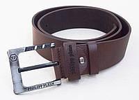 Мужской кожаный ремень Philipp Plein темно-коричневый, фото 1