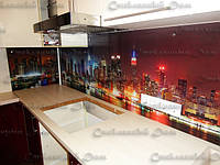 Стеклянный кухонный фартук  купить в Никополе. Нью-Йорк сити ночью.Дизайн кухни.Стекло
