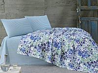 Летнее постельное белье Marie Claire Fireworks голубое евро размера