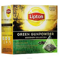 Чай Липтон Green Gunpowder зелёный с ароматом османтуса и груши 20 пирамидок по 1.8г