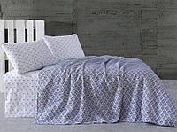 Летнее постельное белье Marie Claire Geometrics синее евро размера