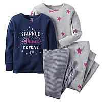 Комплект детских пижам для девочки Carters Звездочки , Размер 2T, Размер 18м