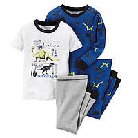 Комплект детских пижам для мальчика Carters Дино (светится в темноте) , Размер 5T, Размер 5T