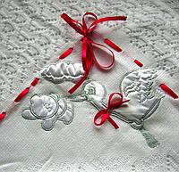 Крыжма «Бейби аист». Крещение ребенка - крижмо. Плед для новорожденного
