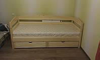 Ліжко односпальне дерев'яне дитяче з шухлядами, фото 1
