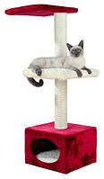 """*Домик с когтеточилкой """"ЕЛЕНА"""" для кошек и котят, 109см, красный/бежевый"""