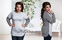 Женская модная туника с принтом  т. микродайвинг+вискоза / батал