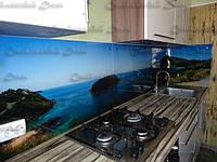 Стеклянная кухонная панель с пейзажем